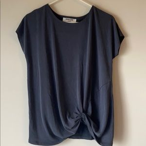 Navy knot front Tee